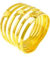 anel horus import estrelado banhado ouro 18 k dourado