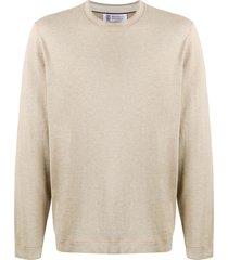 brunello cucinelli crew neck sweatshirt - neutrals
