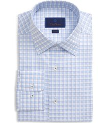 men's david donahue trim fit plaid dress shirt, size 17 - 34/35 - blue