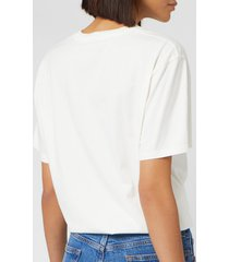 maison kitsuné men's double fox head patch classic t-shirt - latte - xxl