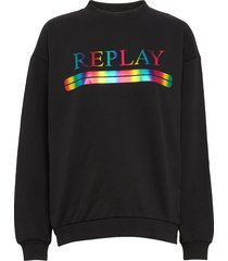 sweater sweat-shirt trui zwart replay