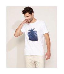 camiseta masculina coqueiro manga curta gola careca branca