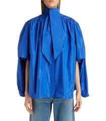 women's balenciaga double sleeve silk taffeta blouse