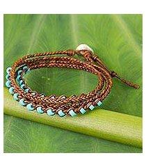 calcite and leather braided wrap bracelet, 'aqua bright' (thailand)