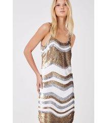 vestido bordado paete ondas marfim