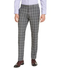 alfani men's slim-fit stretch gray plaid suit pants, created for macy's