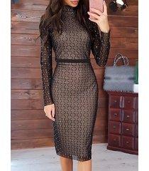 negro grid cuello alto mangas largas midi vestido