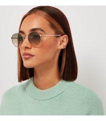 tom ford women's round frame sunglasses - rose gold/green