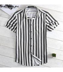 dobladillo curvo estampado rayas hombres camisa