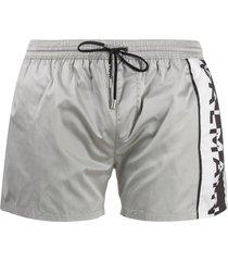 balmain logo print swim shorts - grey