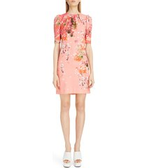 women's givenchy gathered neck floral print crepe dress, size 4 us / 36 fr - pink