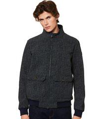 blue melange thermo jacket wool effect