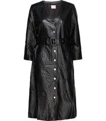 slfjohanne 7/8 leather dress w jurk knielengte zwart selected femme