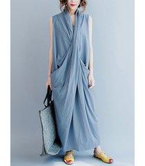 estilo básico abrigo diseño escote en v sin mangas fruncido diseño vestido