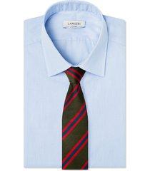 cravatta su misura, lanieri, regimental riga unexpected verde, quattro stagioni | lanieri