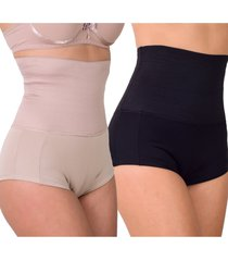 kit 2 shorts modelador vip lingerie zero barriga preto e chocolate - kanui