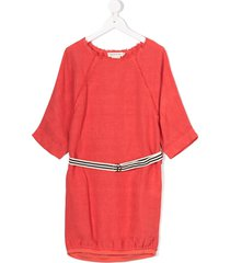 andorine oversized ribbed dress - red