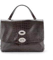 zanellato postina ritratto s model shoulder bag in shiny chestnut brown leather with crocodile print