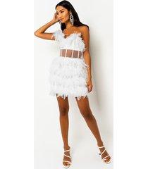 akira swan lake feather one shoulder mini dress