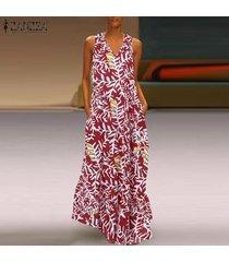 zanzea summer women vestido sin mangas con cuello en v y chaleco largo vestido de fiesta de noche para mujer vestidos -rojo