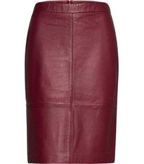 skirts leather knälång kjol röd esprit collection