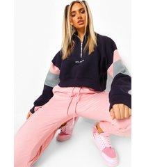 ofcl studio colour block sweater met korte rits, navy