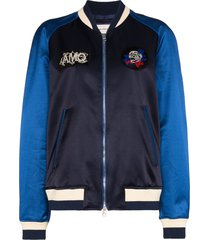 alexander mcqueen embroidered bomber jacket - blue