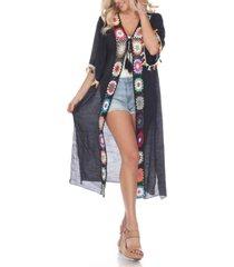 white mark women's crochet kimono cover-up