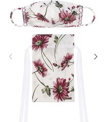 mask with embroidered smocking in printed poplin with matching drawstring pouch
