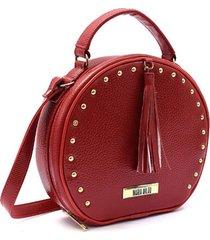 bolsa transversal maria milão bambolinho redonda vermelha