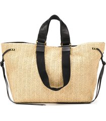 isabel marant magnetic fastening straw tote - neutrals