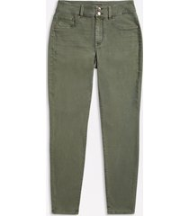 maurices plus size womens high rise olive double button jegging made with repreve green