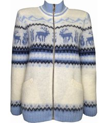 soft warm zip through t neck wool cardigan for women rain deer design