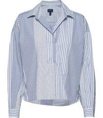 d1. mix stripe popover rugger blouse lange mouwen blauw gant