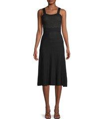 allison new york women's pleated midi dress - black - size m