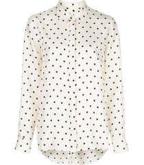 silk ivory and black polka dot blouse
