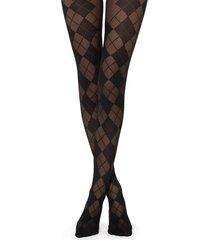 calzedonia diamond-patterned tights woman black size 1/2