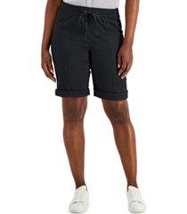 karen scott petite pull-on shorts, created for macy's