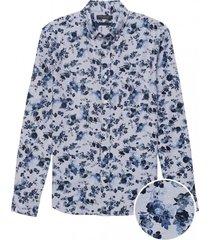camisa slim fit ox floral azul banana republic