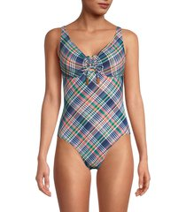sperry women's plaid mio one-piece swimsuit - size m