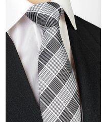 jedwab krawat męski jedwabny w kratkę szary