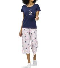 hue kind heart dog print capri pajama set