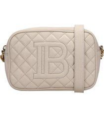 balmain b-camera case shoulder bag in beige leather