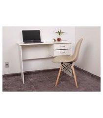 kit escrivaninha com gaveteiro branca + 01 cadeira eiffel botonê - nude