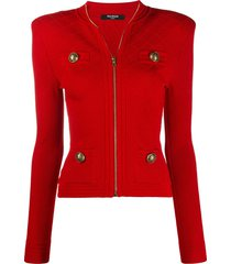 balmain zip-up knitted cardigan - red