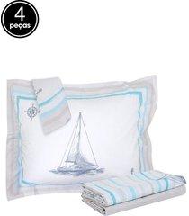 jogo de cama 4pçs casal kacyumara vida bela barcos bege