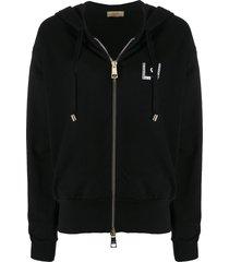 liu jo rhinestone detail hoodie - black