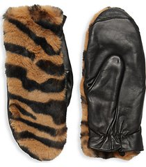 tiger-print faux fur-trim gloves