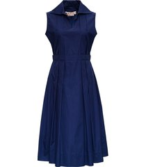marni blue cotton pleated dress