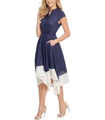 dkny contrast-hem fit & flare linen dress